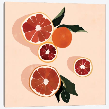 Grapefruit Canvas Print #BNC48} by Bria Nicole Canvas Art Print