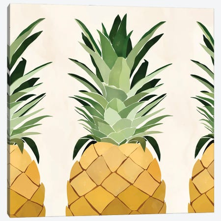 Pineapple Trio Canvas Print #BNC51} by Bria Nicole Canvas Art