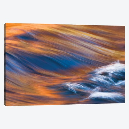 Painterly Impression of a rushing stream reflecting autumn colors. 3-Piece Canvas #BND11} by Brenda Tharp Canvas Print