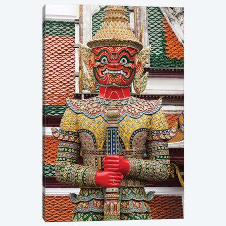 Thailand, Bangkok,. Giant demon Suryapop guards the Emerald Buddha Temple. Canvas Print #BND12} by Brenda Tharp Canvas Art Print