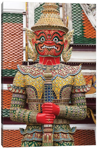Thailand, Bangkok,. Giant demon Suryapop guards the Emerald Buddha Temple. Canvas Art Print