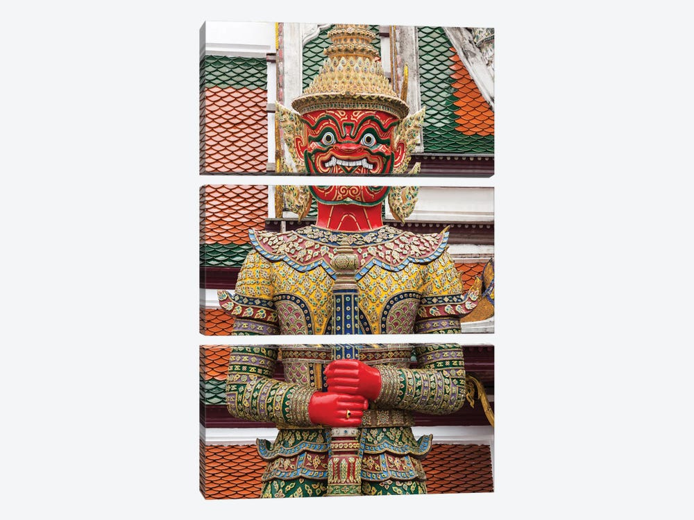 Thailand, Bangkok,. Giant demon Suryapop guards the Emerald Buddha Temple. by Brenda Tharp 3-piece Art Print