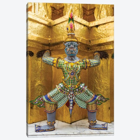 Thailand, Bangkok. Yaksha, demons, guard one of the golden chedi at Wat Phra Kaew. Canvas Print #BND13} by Brenda Tharp Canvas Print