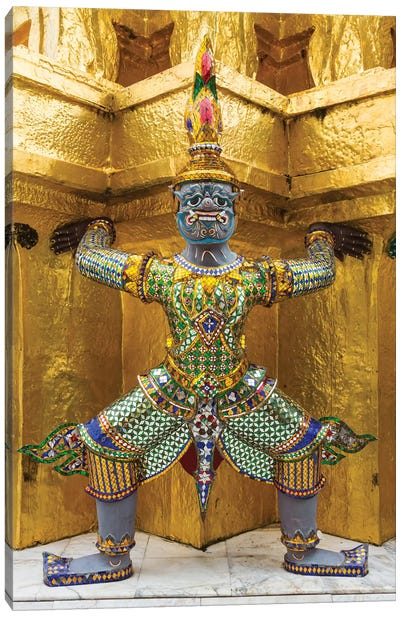 Thailand, Bangkok. Yaksha, demons, guard one of the golden chedi at Wat Phra Kaew. Canvas Art Print