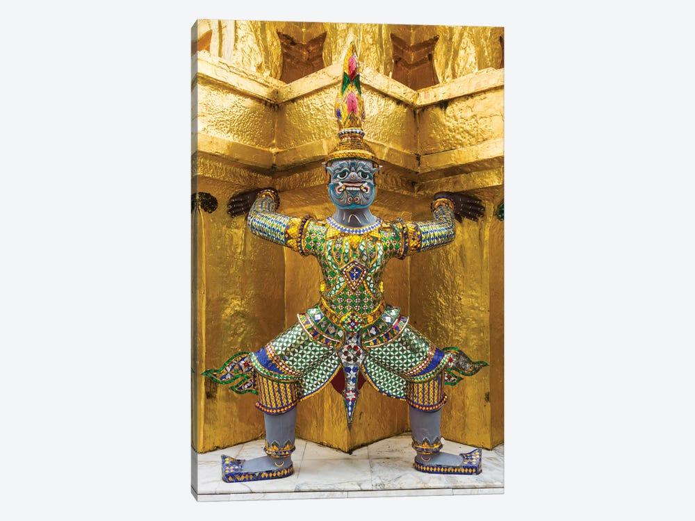 Thailand, Bangkok. Yaksha, demons, guard one of the golden chedi at Wat Phra Kaew. by Brenda Tharp 1-piece Canvas Art