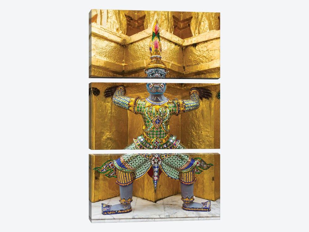 Thailand, Bangkok. Yaksha, demons, guard one of the golden chedi at Wat Phra Kaew. by Brenda Tharp 3-piece Canvas Art