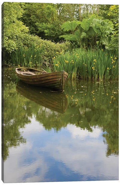 Ireland, County Clareold Boat And Pond, Bunratty Folk Park. Canvas Art Print
