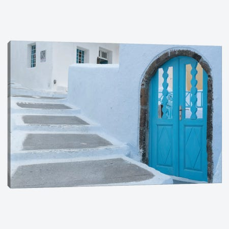 Greece, Santorini. Blue door livens up a quiet alley of white-washed homes in Pyrgos. Canvas Print #BND22} by Brenda Tharp Canvas Artwork