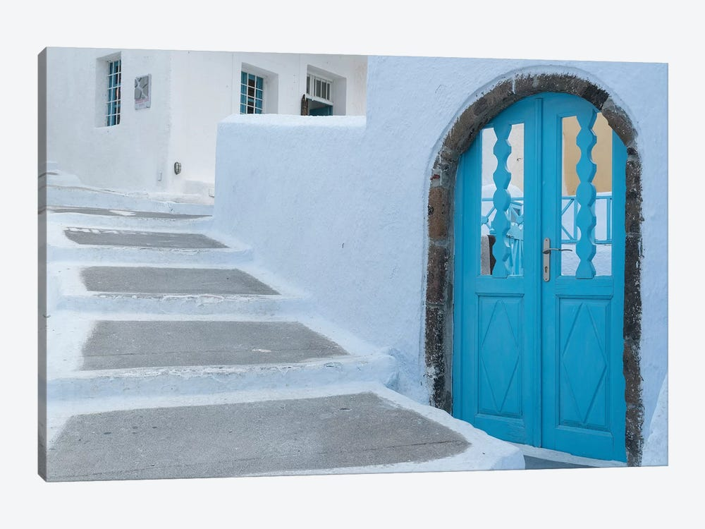 Greece, Santorini. Blue door livens up a quiet alley of white-washed homes in Pyrgos. by Brenda Tharp 1-piece Canvas Artwork