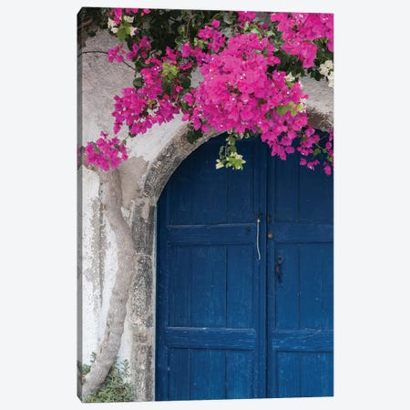 Greece, Santorini. Weathered blue door is framed by bright pink Bougainvillea blossoms. Canvas Print #BND23} by Brenda Tharp Canvas Artwork