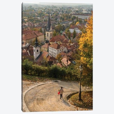 Slovenia, Ljubljana. Late afternoon light falling on the heart of the old town Canvas Print #BND24} by Brenda Tharp Canvas Print