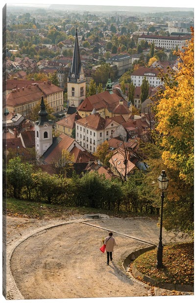 Slovenia, Ljubljana. Late afternoon light falling on the heart of the old town Canvas Art Print