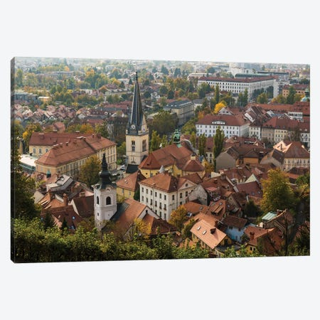 Slovenia, Ljubljana. Late afternoon light falling on the heart of the old town Canvas Print #BND25} by Brenda Tharp Art Print