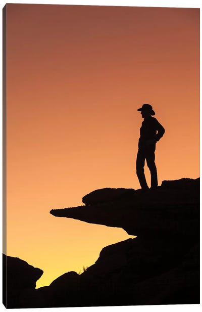 Man standing on rock surveying the view.  Canvas Art Print