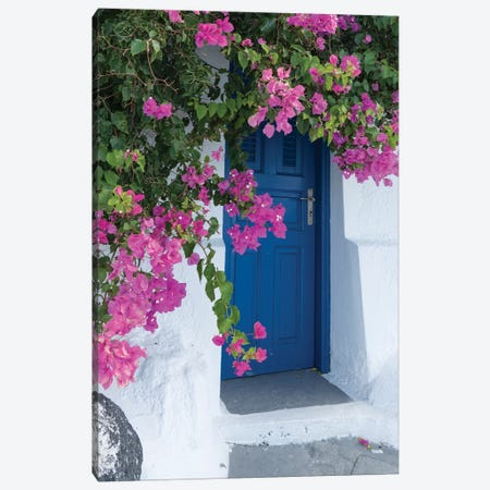 Greece, Santorini. A Picturesque Blue Door Is Surrounded By Pink Bougainvillea In Firostefani. Canvas Print #BND28} by Brenda Tharp Canvas Artwork