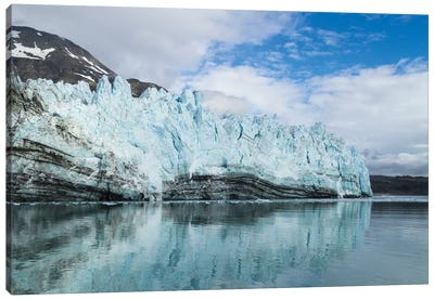 Alaska, Glacier Bay. A close-up view of Margerie Glacier with lateral moraine Canvas Art Print