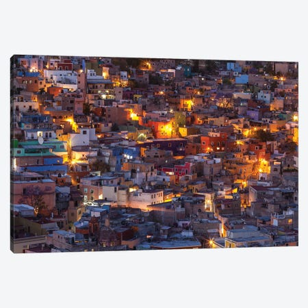 Mexico, Guanajuato. Street lights add ambience to this twilight village scene. Canvas Print #BND7} by Brenda Tharp Canvas Art Print