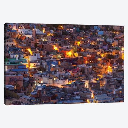 Mexico, Guanajuato. Street lights add ambience to this twilight village scene. 3-Piece Canvas #BND7} by Brenda Tharp Canvas Art Print