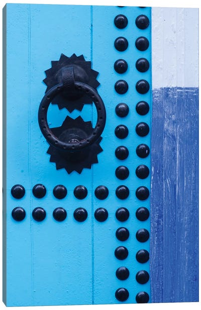 Morocco, Chefchaouen. Detail of blue door and doorknocker Canvas Art Print
