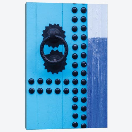 Morocco, Chefchaouen. Detail of blue door and doorknocker Canvas Print #BND9} by Brenda Tharp Canvas Artwork