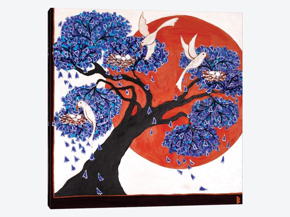 Bird's Nests In A Jacaranda Tree by Berit Bredahl Nielsen 1-piece Canvas Print