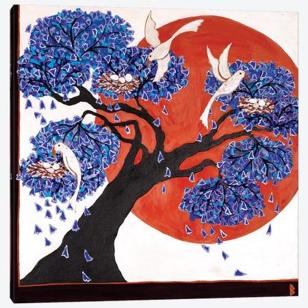 Bird's Nests In A Jacaranda Tree Canvas Print #BNI13} by Berit Bredahl Nielsen Canvas Wall Art