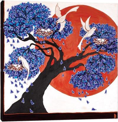 Bird's Nests In A Jacaranda Tree Canvas Art Print