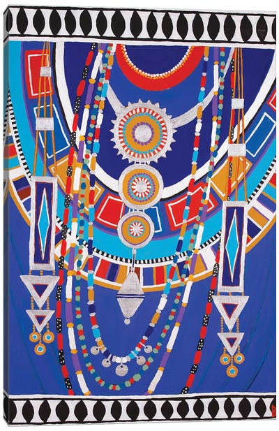 Masai Woman II - Blue Canvas Art Print