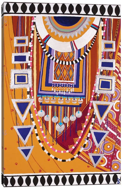Masai Woman III - Yellow Canvas Art Print