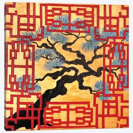 Gnarled Tree And Red Lattice Screen Canvas Print #BNI23} by Berit Bredahl Nielsen Art Print