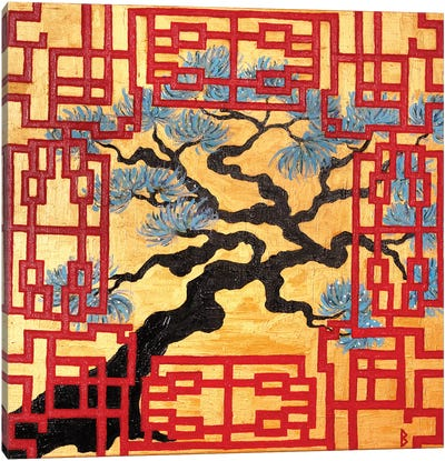 Gnarled Tree And Red Lattice Screen Canvas Art Print
