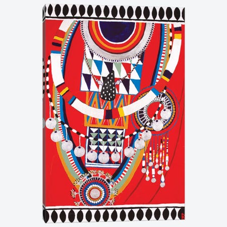 Masai Woman I - Red Canvas Print #BNI26} by Berit Bredahl Nielsen Canvas Wall Art