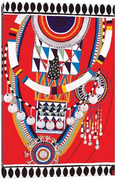 Masai Woman I - Red Canvas Art Print