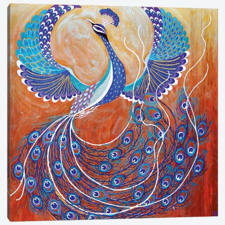 Flying Peacock Canvas Print #BNI32} by Berit Bredahl Nielsen Canvas Wall Art