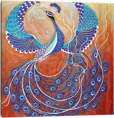 Flying Peacock Canvas Art Print