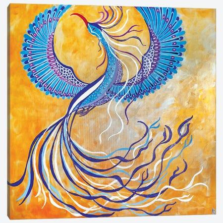 Blue Phoenix Canvas Print #BNI33} by Berit Bredahl Nielsen Canvas Wall Art