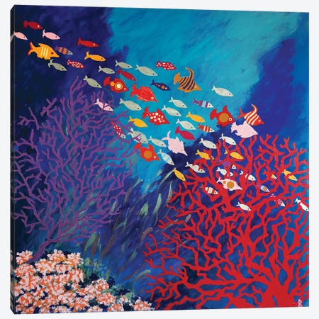 Corals And Colorful Fish Canvas Print #BNI35} by Berit Bredahl Nielsen Canvas Art Print