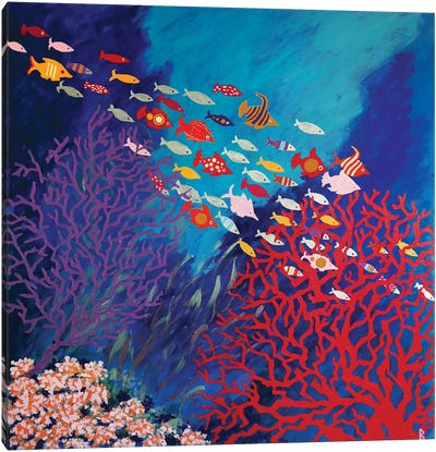 Corals And Colorful Fish Canvas Art Print