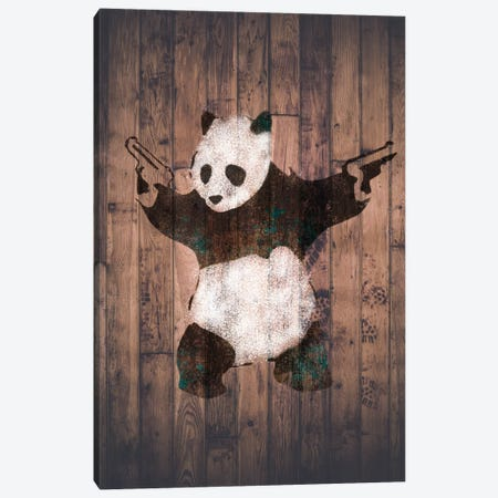 Panda with Guns on Warm Wood Bricks Canvas Print #BNK101} by Unknown Artist Canvas Art Print
