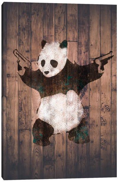Panda with Guns on Warm Wood Bricks Canvas Print #BNK101