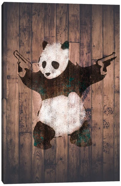 Panda with Guns on Warm Wood Bricks Canvas Art Print