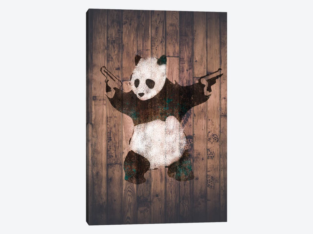 Panda with Guns on Warm Wood Bricks by Unknown Artist 1-piece Art Print