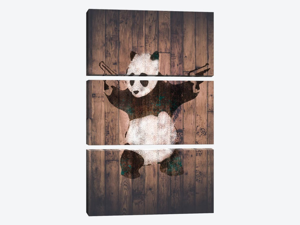 Panda with Guns on Warm Wood Bricks by Unknown Artist 3-piece Canvas Art Print
