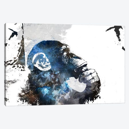 The Thinker Monkey Watercolor Silhouette Canvas Print #BNK134} by 5by5collective Art Print