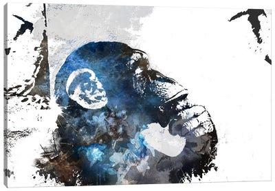 The Thinker Monkey Watercolor Silhouette Canvas Art Print