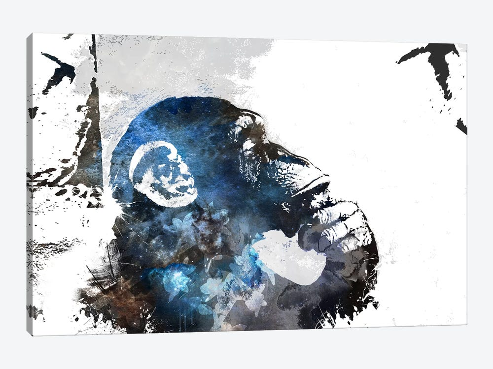 The Thinker Monkey Watercolor Silhouette by Unknown Artist 1-piece Canvas Art Print