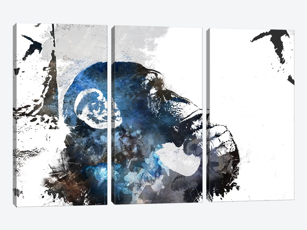 The Thinker Monkey Watercolor Silhouette by Unknown Artist 3-piece Canvas Print