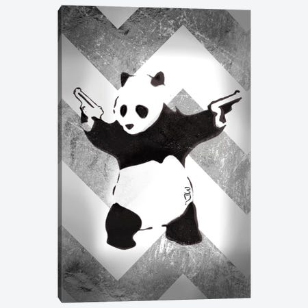 Panda With Guns On Silver Chevron Canvas Print #BNK195} by Unknown Artist Canvas Print
