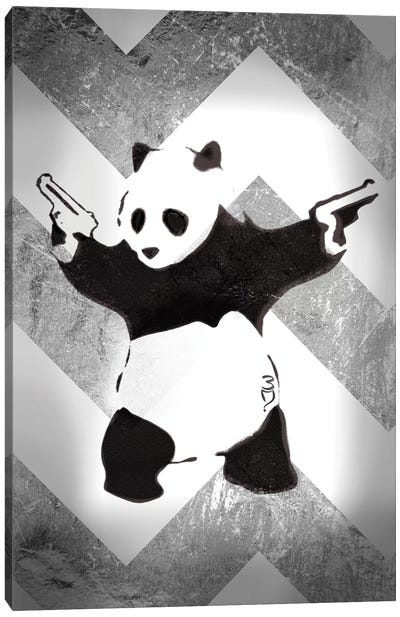 Panda With Guns On Silver Chevron Canvas Art Print