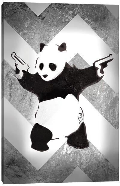 Panda With Guns On Silver Chevron Canvas Print #BNK195